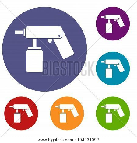 Spray aerosol can bottle with a nozzle icons set in flat circle reb, blue and green color for web