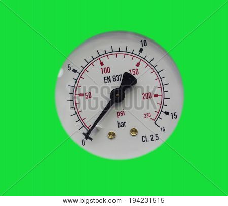 Pressure gauge / gage in green background ; select inside pressure gauge