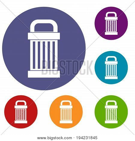 Trash icons set in flat circle reb, blue and green color for web
