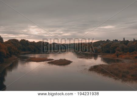 Cloudy Morning Over The River Hoper In The City Of Balashov