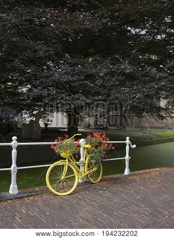 delft netherlands 30 june 2017: yellow bicycle with flowers and canal with duckweed behind famous new church in dutch city of Delft