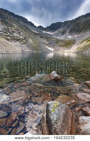 Landscape with Rila Mountain, Ledenoto (Ice) lake and Musala Peak, Bulgaria