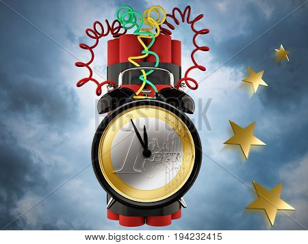 3d rendering. tnt alarm clock with one euro coin and stars.