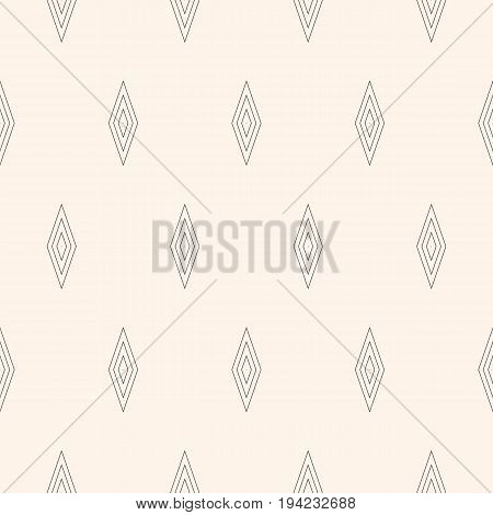 Vector minimalist seamless pattern. Subtle monochrome geometric texture with simple figures, rhombuses thin lines, repeat tiles. Abstract minimalistic background. Design for print, decor, digital.