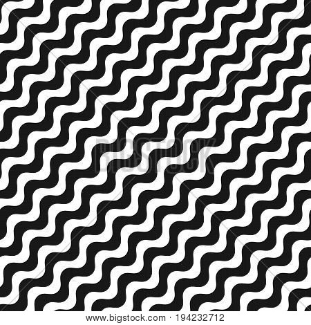 Diagonal wavy lines. Seamless pattern. Simple black & white waves, smooth liquid stripes. Vector abstract monochrome background, repeat tiles. Design pattern, textile pattern, covers pattern, package pattern, decor pattern, fabric pattern.