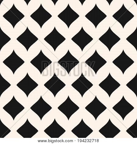 Simple vector seamless pattern. Stylish monochrome geometric background with smooth shapes, curved rhombuses. Elegant abstract luxury texture. Repeat tiles. Design for home, decor, textile, fabric.