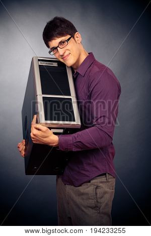 nerd being in love with his new computer