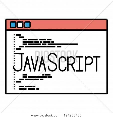 silhouette color sections of programming window with code javascript vector illustration