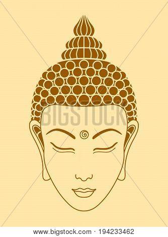Shape of Buddha head on a beige background