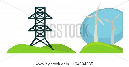 Metal tower for wires spreading through whole city and wind generators for ecologically safe way to obtain energy on green field with small hills isolated vector illustrations on white background.