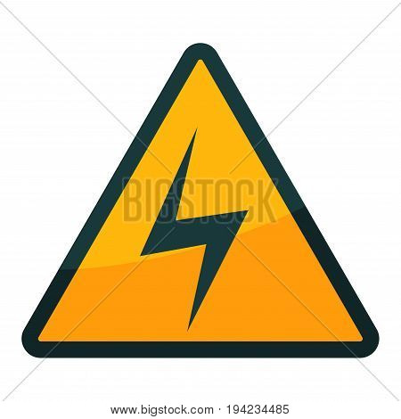 High voltage warning sign in yellow triangular shape with dark frame isolated on white vector illustration in flat design. Close up poster of symbol showing place of device that has great power