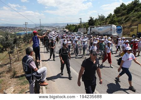 ISTANBUL, TURKEY - JULY 06: Opposition party leader Kemal Kilicdaroglu is walking for justice on July 06, 2017 in Istanbul, Turkey.