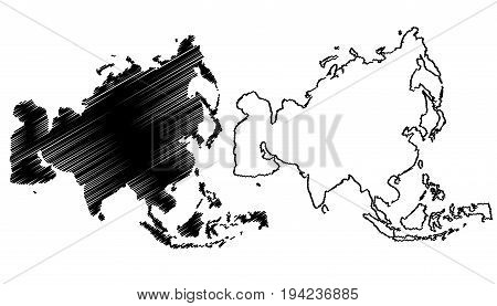 Map of Asia vector illustration , scribble sketch Asia