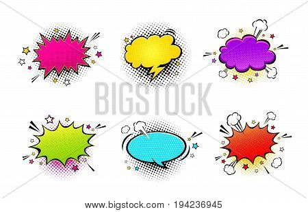 Comic empty speech bubbles with different colors on halftone dots background in retro pop art style. Vector set of dynamic cartoon funny dialog balloons sketch isolated on white background.