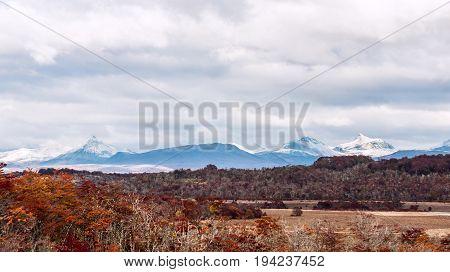 Autumn in Patagonia. Cordillera Darwin part of Andes range Isla Grande de Tierra del Fuego Chilean territory view from the Argentina side