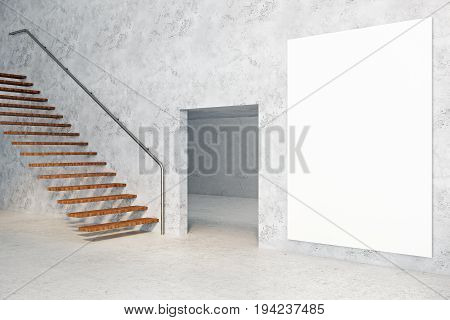 Side view of concrete room interior with copy space on empty poster stairs and doorway. Success concept. Mock up 3D Rendering