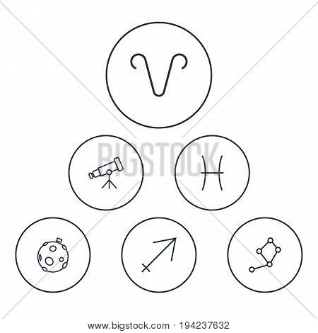 Set Of 6 Astronomy Outline Icons Set.Collection Of Aries, Sagittarius, Moon And Other Elements.