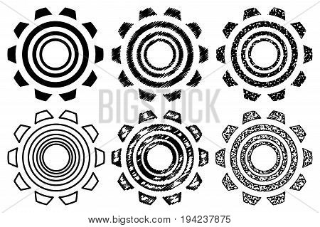Icon gearwheel , Vector black gears icons set