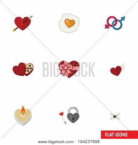 Flat Icon Amour Set Of Heart, Present, Wings And Other Vector Objects. Also Includes Arrow, Fire, Love Elements.