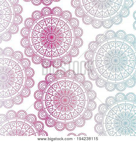 pattern red and blue gradient brilliant flower mandala vintage decorative swirl ornament vector illustration