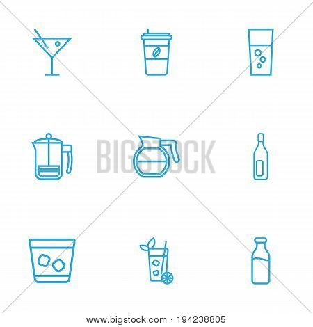 Set Of 9 Drinks Outline Icons Set.Collection Of Cocktail, Coffeepot, Mojito And Other Elements.