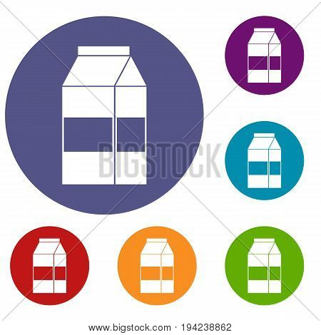 Box of milk icons set in flat circle reb, blue and green color for web