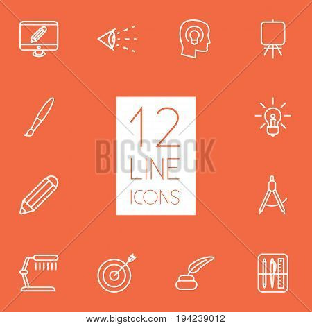Set Of 12 Creative Outline Icons Set.Collection Of Vision, Inkwell With Pen, Dividers And Other Elements.