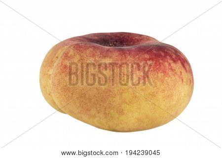 Peach Saturn Isolated On White Background Photo. Beautiful Picture, Background, Wallpaper