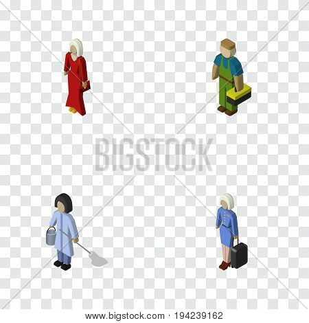 Isometric Person Set Of Plumber, Female, Housemaid And Other Vector Objects. Also Includes Hostess, Lady, Technician Elements.