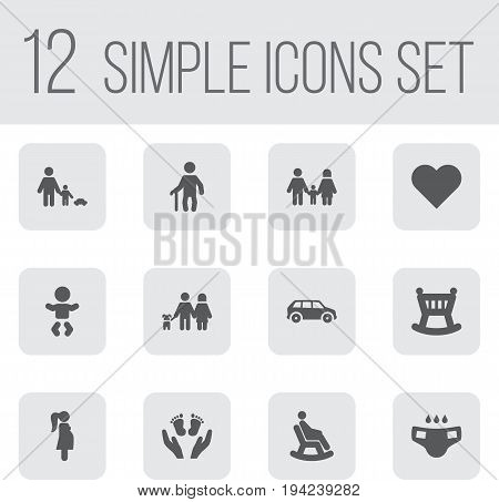Set Of 12 Family Icons Set.Collection Of Kid, Nappy, Expectant Mother And Other Elements.