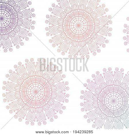pattern purple and red gradient brilliant flower mandala vintage decorative ornament vector illustration