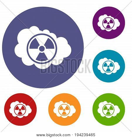 Cloud and radioactive sign icons set in flat circle reb, blue and green color for web