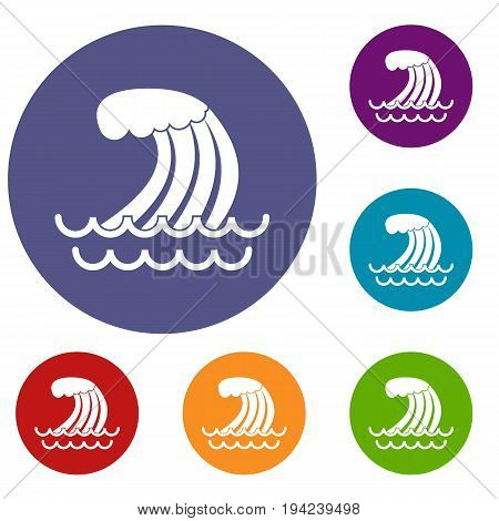 Tsunami wave icons set in flat circle reb, blue and green color for web