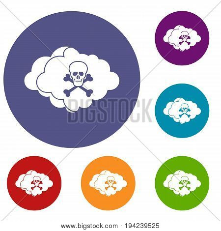 Cloud with skull and bones icons set in flat circle reb, blue and green color for web