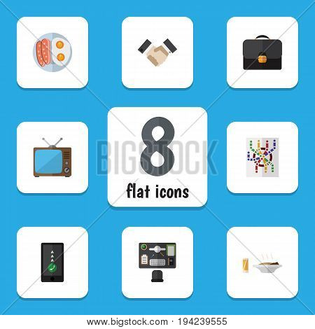 Flat Icon Oneday Set Of Television, Cellphone, Bureau And Other Vector Objects. Also Includes Partnership, Briefcase, Map Elements.
