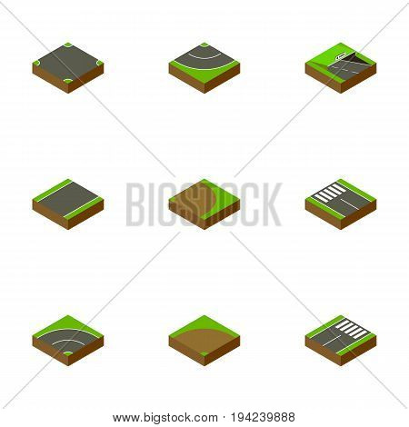 Isometric Road Set Of Footer, Underground, Strip And Other Vector Objects. Also Includes Rotation, Subway, Turn Elements.