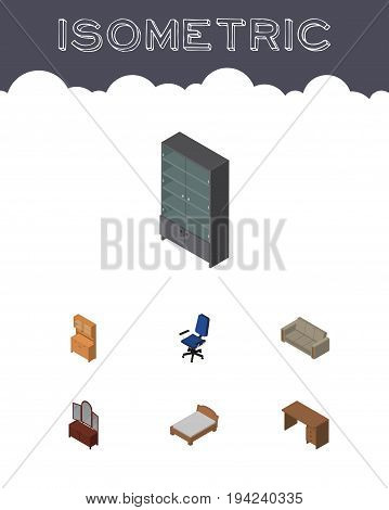 Isometric Furniture Set Of Drawer, Sideboard, Office And Other Vector Objects. Also Includes Cupboard, Bedstead, Armchair Elements.