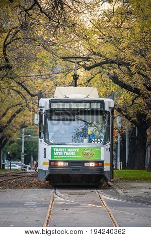 Melbourne, AUSTRALIA - JUNE 7 2015: Melbourne Tram the iconic famous transportation in the town of Melbourne.