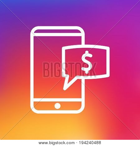 Isolated Mobile Banking Outline Symbol On Clean Background. Vector Electron Payment  Element In Trendy Style.