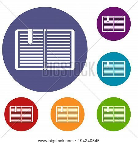 Open book with red bookmark icons set in flat circle reb, blue and green color for web