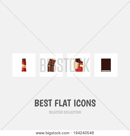 Flat Icon Chocolate Set Of Wrapper, Dessert, Shaped Box And Other Vector Objects. Also Includes Wrapper, Confection, Sweet Elements.
