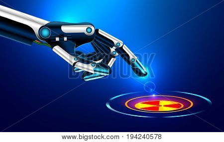 The Robot Arm Presses The Index Finger On The Button With The Icon Of The Nuclear Danger
