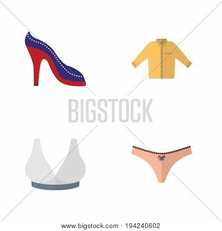 Flat Icon Dress Set Of Lingerie, Banyan, Brasserie And Other Vector Objects. Also Includes Sport, Banyan, Heeled Elements.
