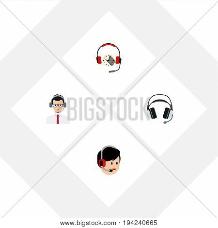 Flat Icon Hotline Set Of Help, Operator, Headphone And Other Vector Objects. Also Includes Earphone, Headset, Operator Elements.