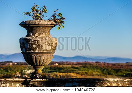 Antique vase in the historic house. Outdoor with natural landscape. A beautiful vase of the last century with a natural background with mountains, valley and blue sky.