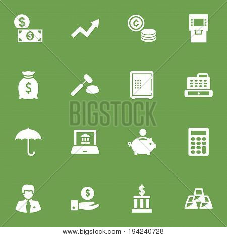 Set Of 16 Finance Icons Set.Collection Of Ingot, Electron Report, Cashbox And Other Elements.