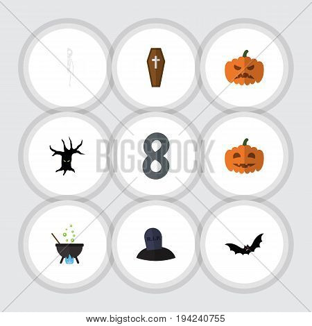 Flat Icon Festival Set Of Superstition, Magic, Terrible Halloween And Other Vector Objects. Also Includes Casket, Skeleton, Bones Elements.