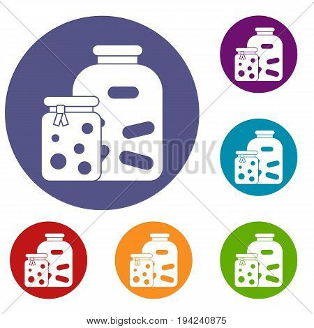 Jars with pickled vegetables and jam icons set in flat circle reb, blue and green color for web