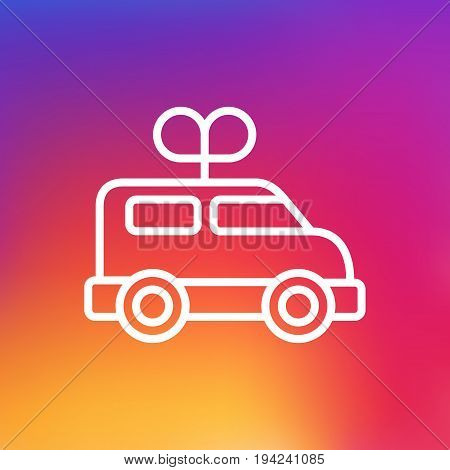 Isolated Bus Outline Symbol On Clean Background. Vector Clockwork Car Element In Trendy Style.