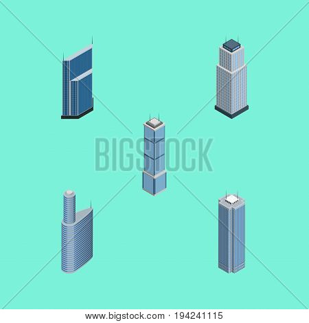 Isometric Building Set Of Residential, Building, Skyscraper And Other Vector Objects. Also Includes Apartment, Business, Skyscraper Elements.